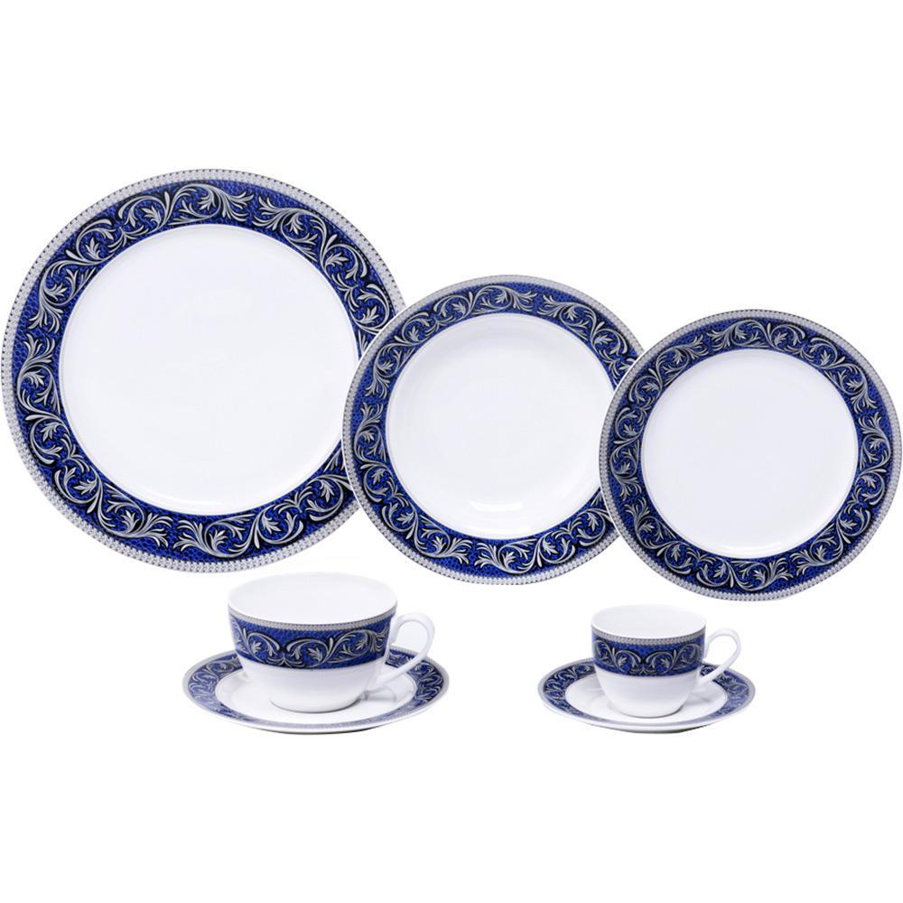 Aparelho de Jantar 42 peças Porcelana New Bone Florentine Mail Box Azul -  Lyor é bom 1a7a85de96f