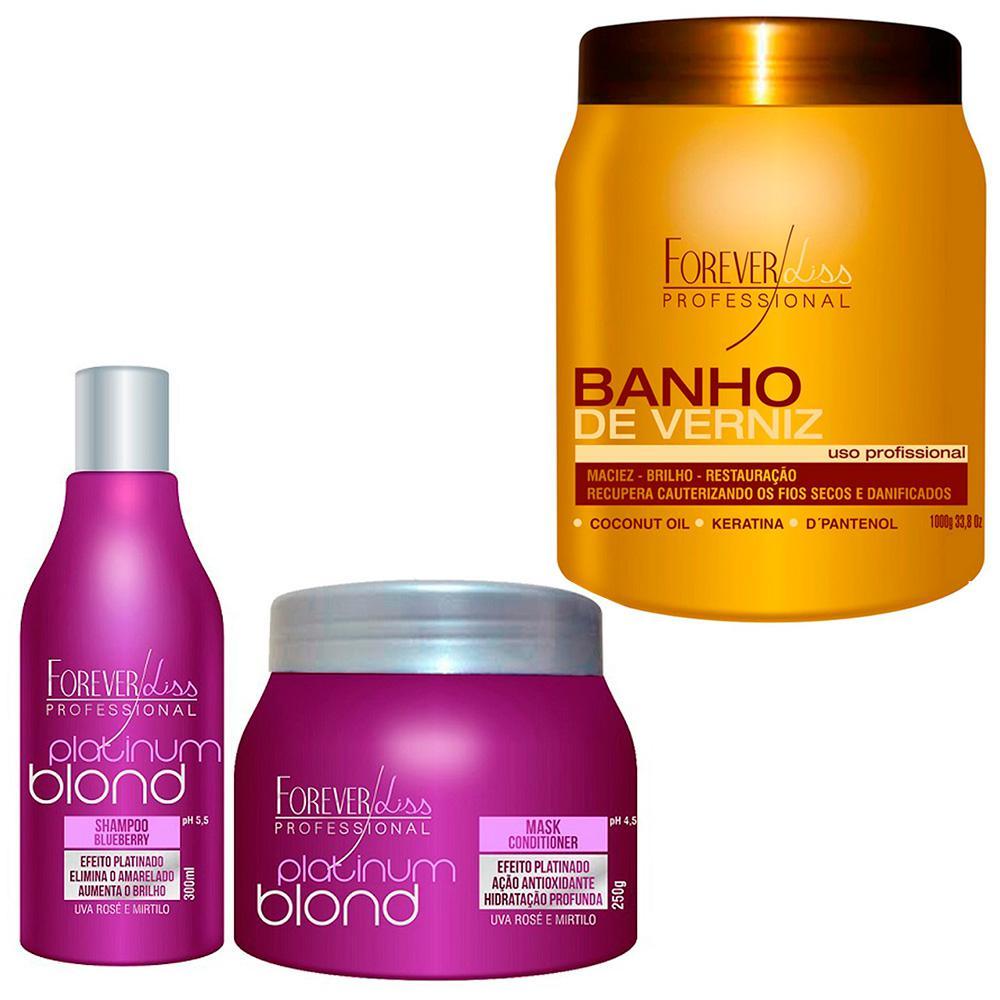 2204a91ad Banho De Verniz 1kg Hidratação E Platinum Blond Matizador Shampoo E Máscara  Uso Diário Forever Liss é bom? Vale a pena?