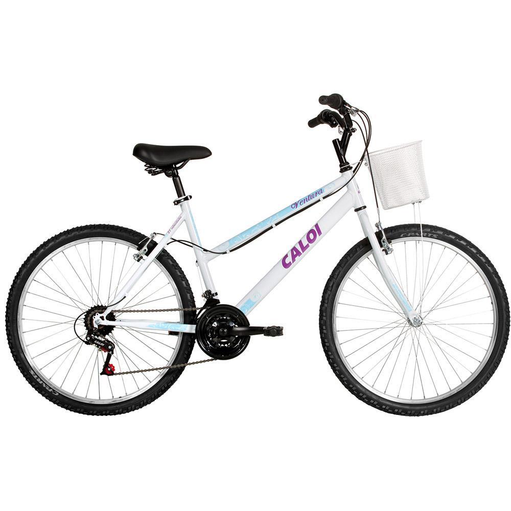 3274f21f5 Bicicleta Caloi Ventura Aro 26 21 Velocidades Branca é bom  Vale a pena