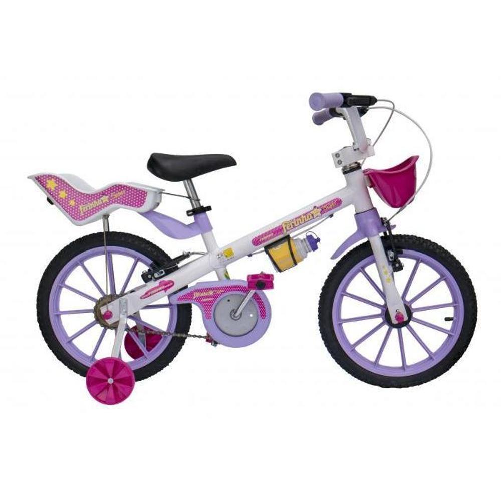 a540dbd43 Bicicleta Infantil Feminina Ferinha Branco E Lilás Aro 16 - Fischer é bom   Vale a