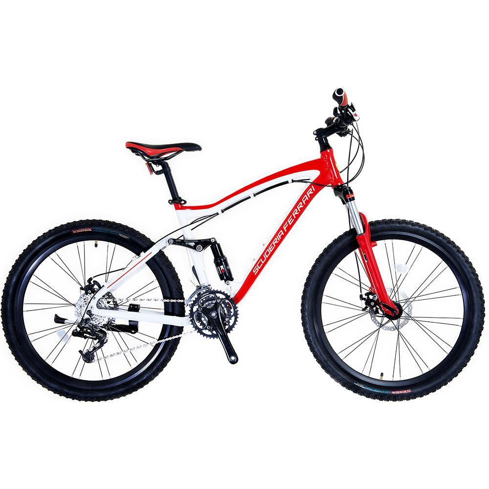 b80c6b189 Bicicleta Mountain Bike Ferarri MTB Aluminio Full Suspension Aro 26 24  Marchas - Vermelha é bom