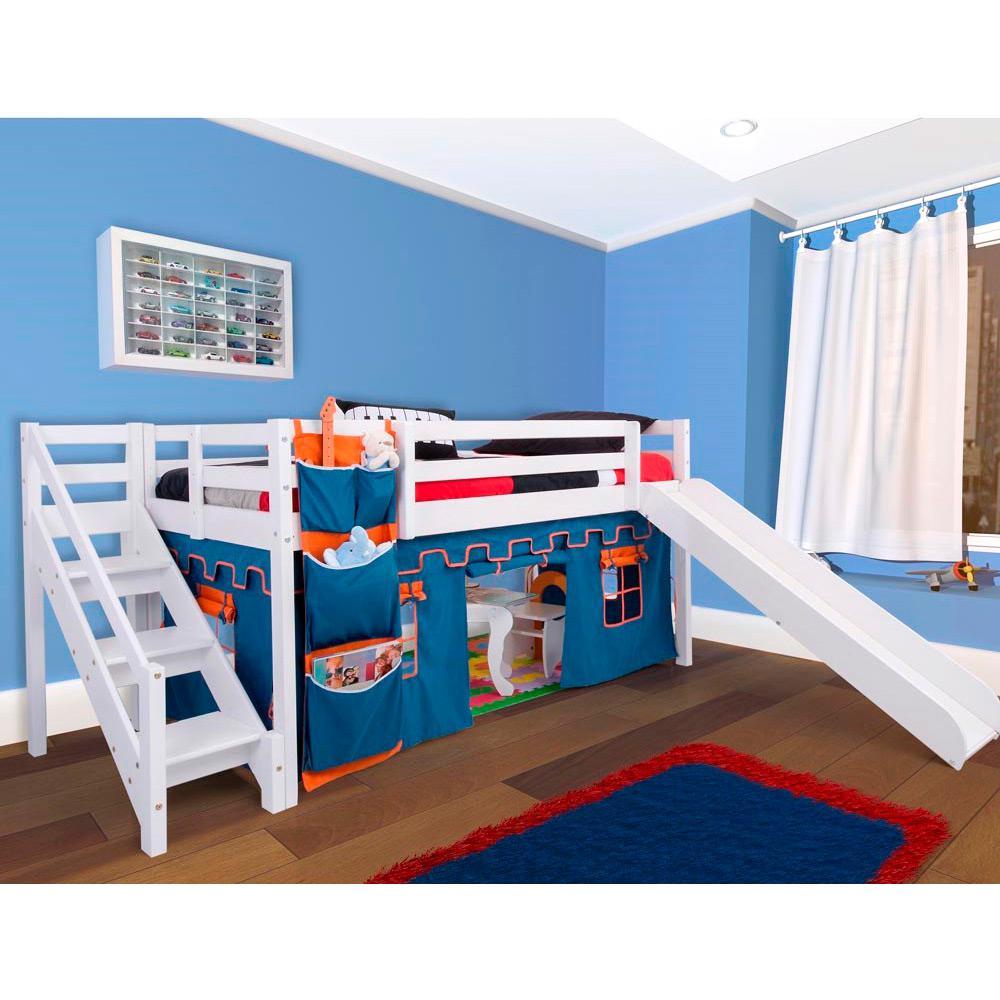 fea4492c6d Cama com Escorregador Infantil com Escada de Fácil Acesso e Castelo Azul -  Casatema é bom