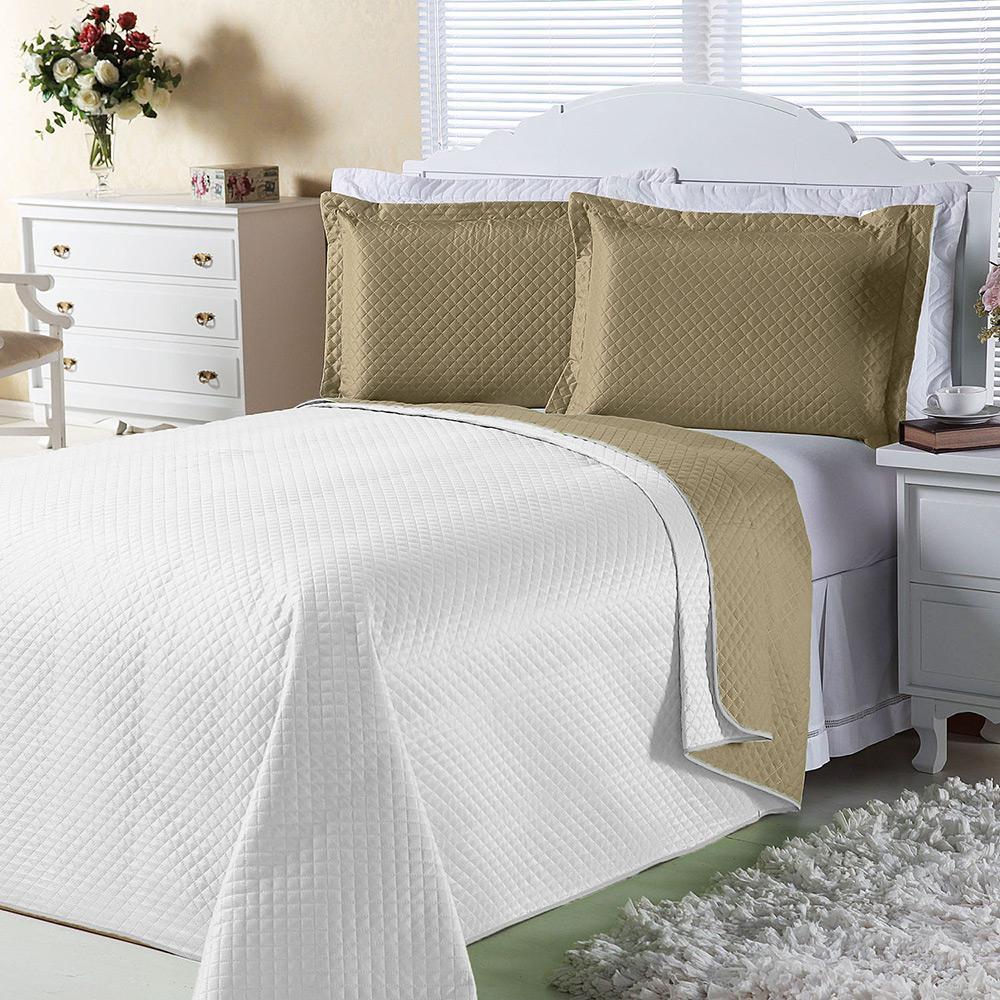 4a36092e5a Cobre-leito Dual Color Solteiro com Porta-travesseiro Branco e Bege Orb é  bom  Vale a pena