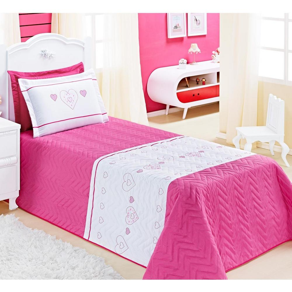 5aeee367e7 Cobre Leito Solteiro Amor 03 Peças Bordado De Coração - Pink é bom  Vale a