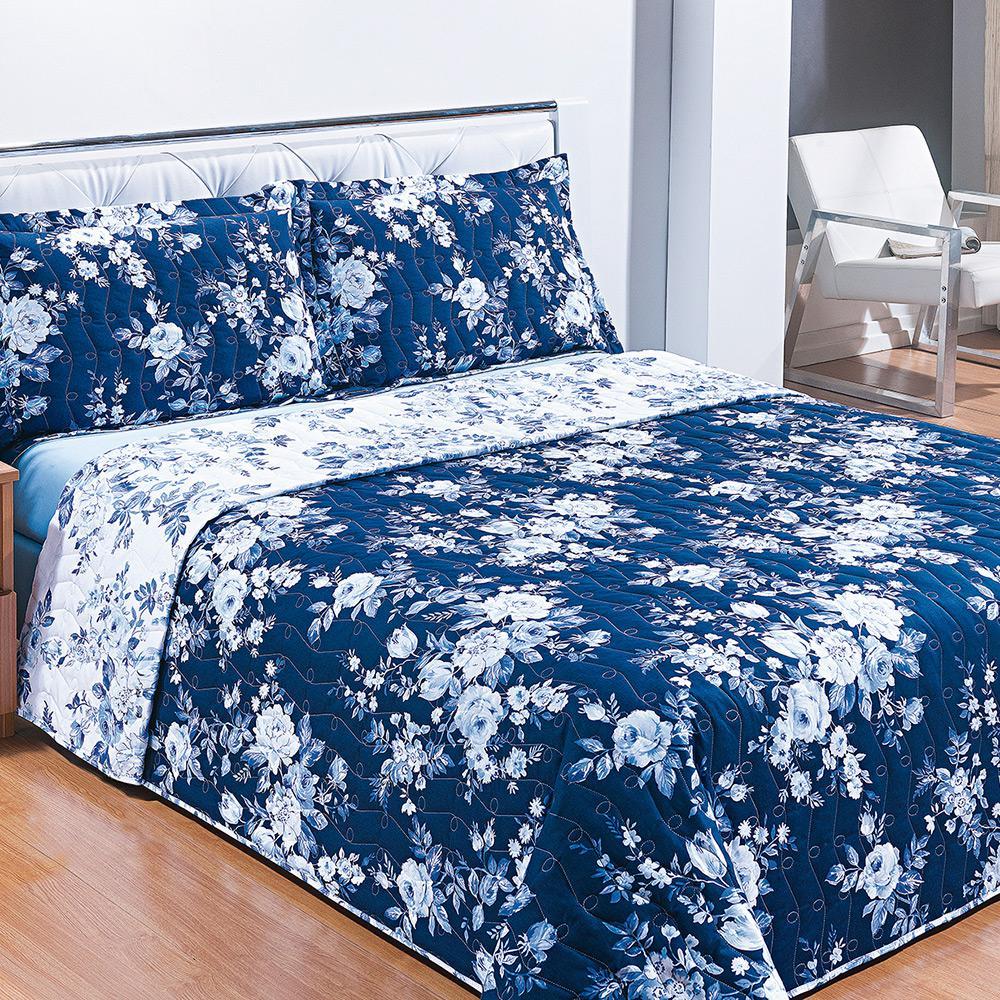 c41da4c924 Cobreleito Casal Malta com 2 Porta-Travesseiros Percal 180 Fios Azul - Casa    Conforto