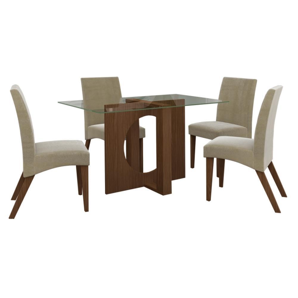 ff922ed57d Conjunto De Mesa Com 4 Cadeiras Atuale Castanho Tecido 113 - Lj Móveis é  bom