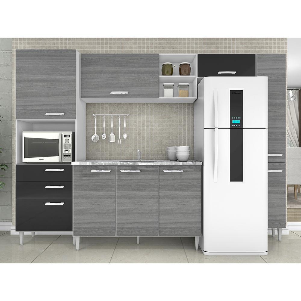 Cozinha Compacta Natalia 5 Pe As C Tampo 9 Portas Grigio Preto