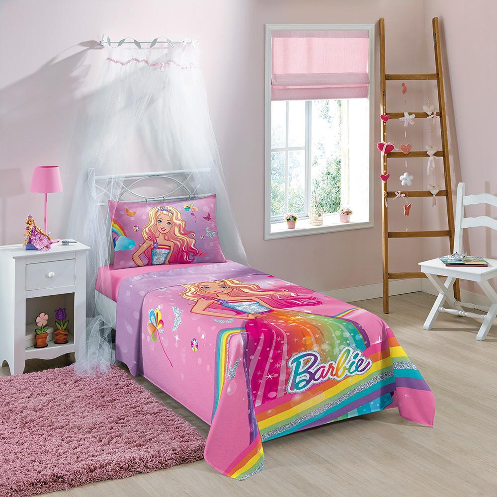 61b0ce81d2 → Jogo de Cama Infantil Barbie Reino do Arco-íris 2 Peças - Lepper ...