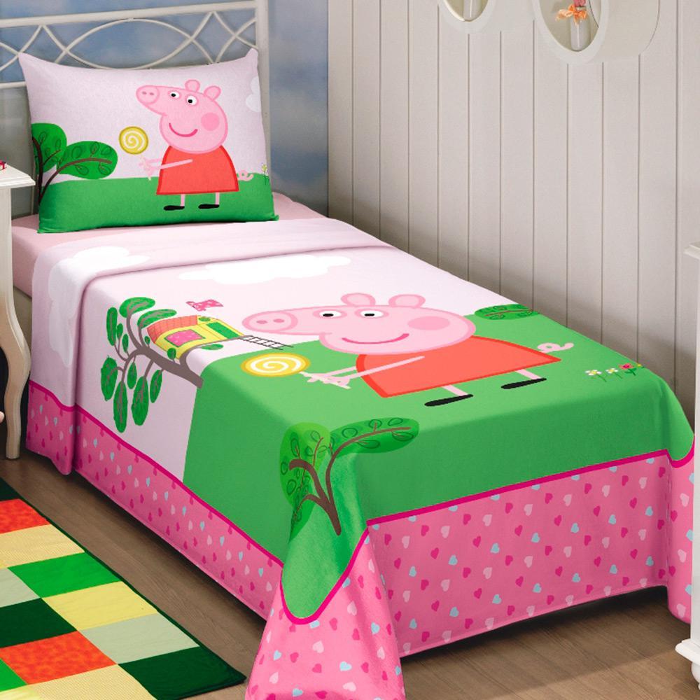 3c722ac3b1 Jogo de Cama Solteiro Kids Peppa Pig 3 Peças Algodão Poliéster 150 Fios  Rosa -