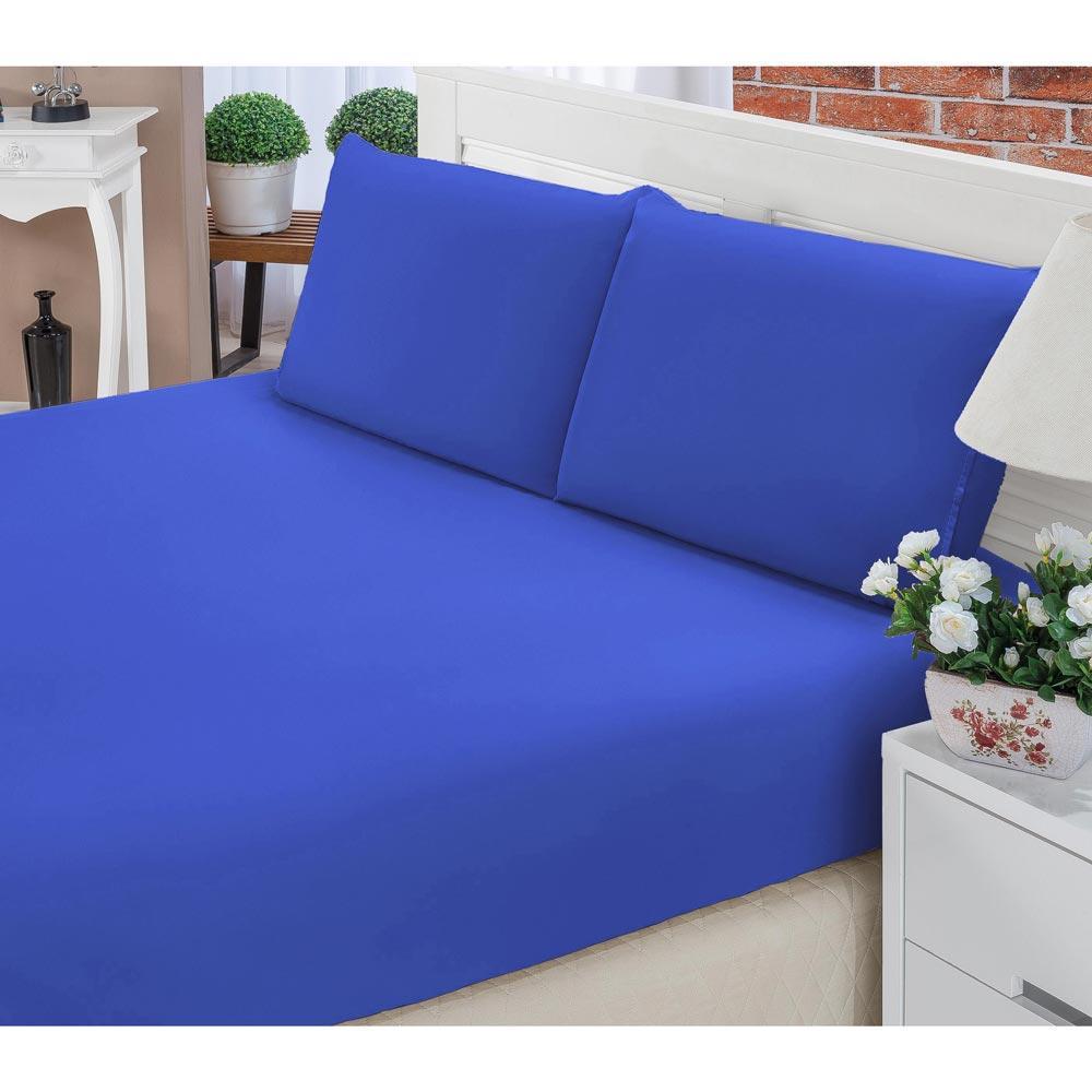 a3ff2490a9 Jogo De Lençol Casal Padrão Liso Pati 03 Peças Tecido Microfibra - Azul  Royal é bom