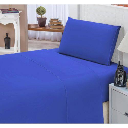 f2af80bdc0 Jogo De Lençol Solteiro Padrão Liso Pati 02 Peças Tecido Microfibra - Azul  Royal é bom