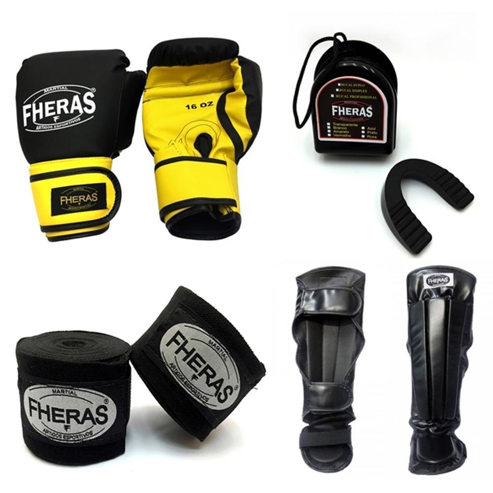 38a9853d5 Kit Boxe Muay Thai Fheras Luva + Caneleira + Bandagem + Bucal Preta Amarela  12oz é bom  Vale a pena