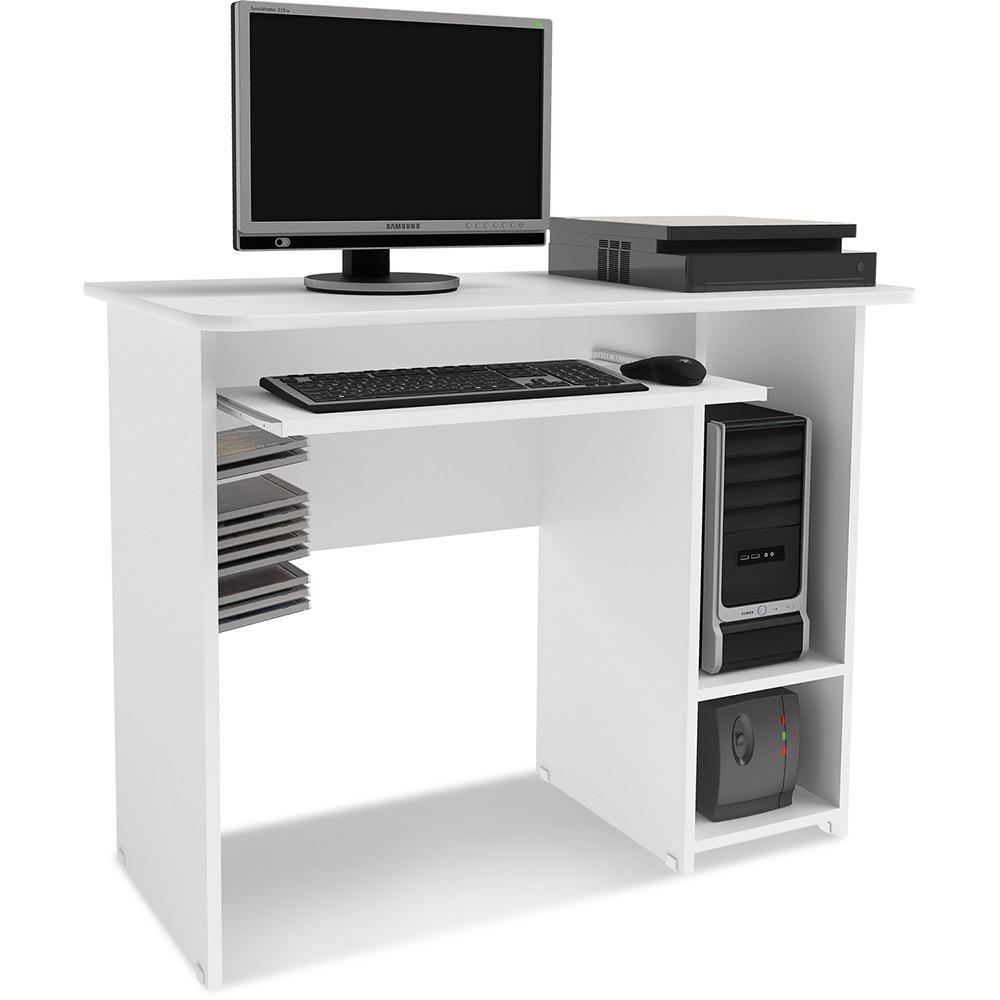 dbde42c32 Mesa de Computador com 2 compartimentos laterais e corrediças metálicas  para teclado - MC 8007 -