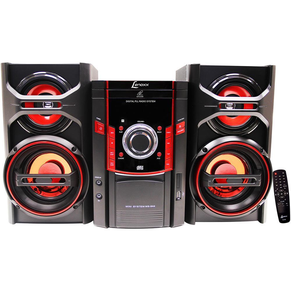 e9353e53ddc Mini System Lenoxx MS844 CD Player Rádio FM Entrada para Microfone USB Auxiliar  Preto