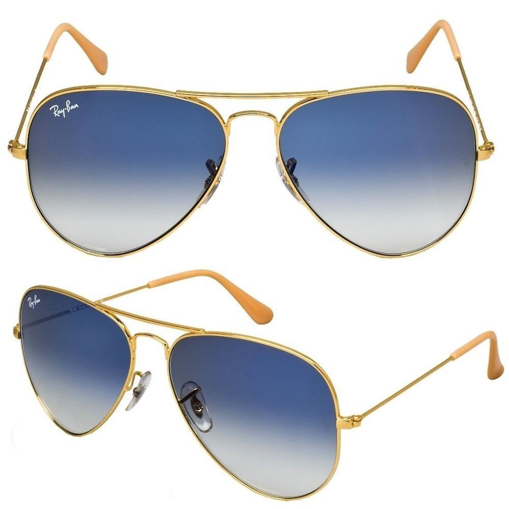 fc3e96384 Óculos De Sol Ray-Ban Rb3026 Aviator Dourado - Lente Azul Degradê Tamanho  62 Mm