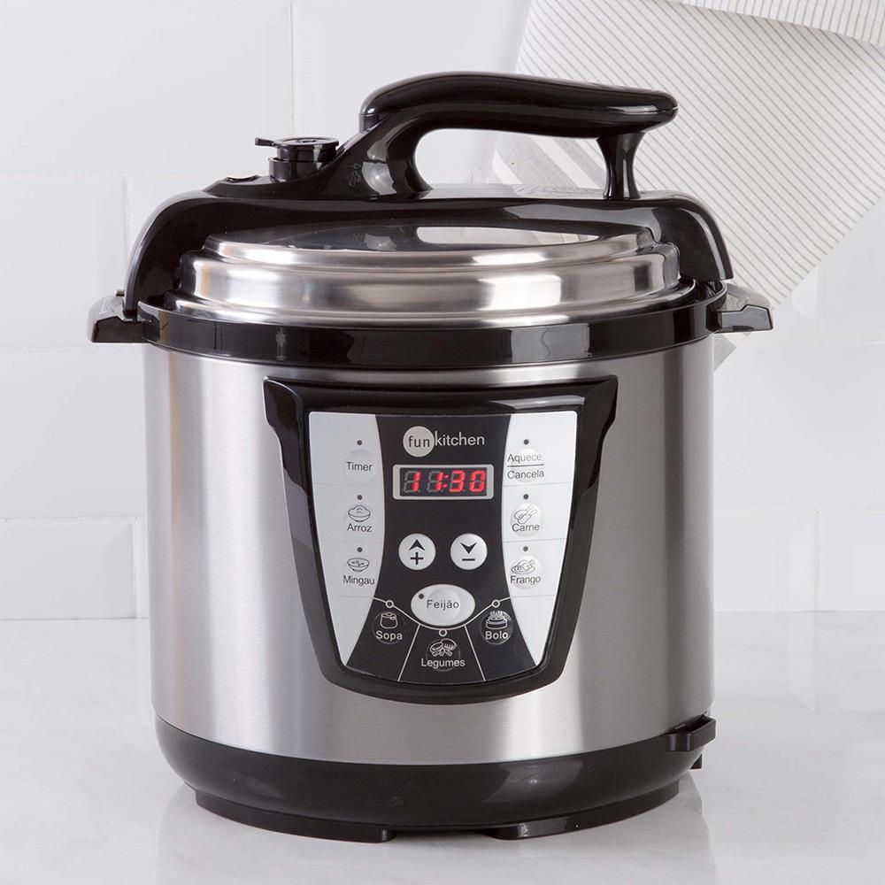 fbc62ea5a → Panela de Pressão Elétrica Fun Kitchen Inox 6L é bom  Vale a pena