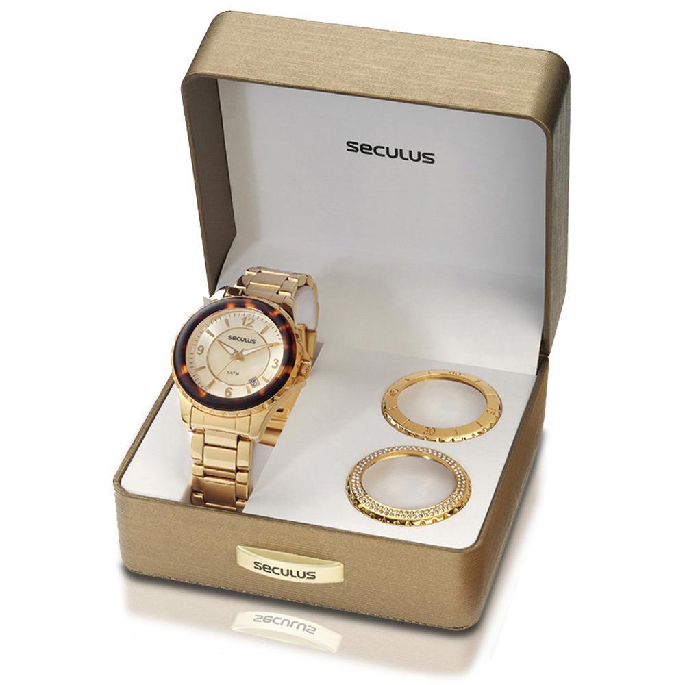 02bad108382 Relógio Feminino Casual Dourado c  3 Catracas 24773LPSFDS2-X - Seculus é  bom