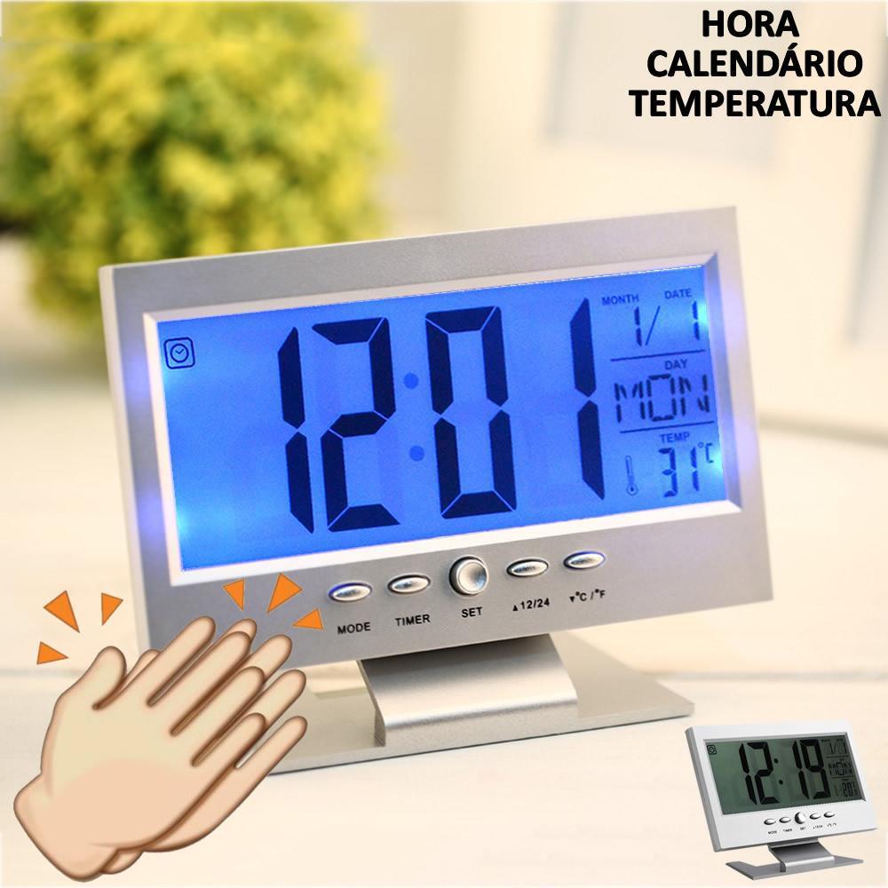 62200a3bd18 Relógio De Mesa Digital Lcd Led Acionamento Sonoro Despertador Termometro  Prata Cbrn01439 é bom  Vale a pena